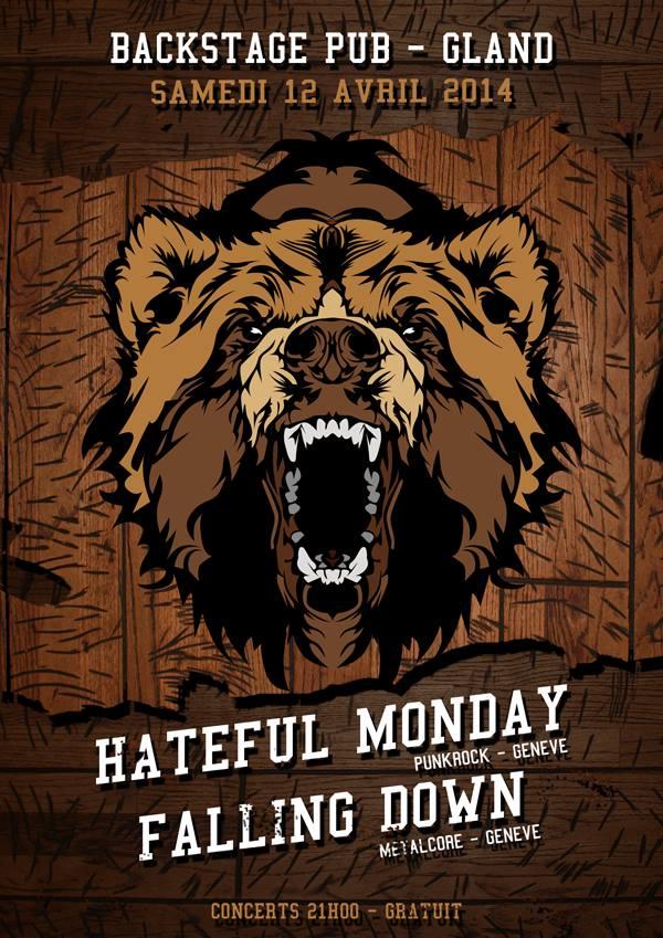 concert backstage pub gland punkrock metalcore hateful monday falling down 12 avril 2014