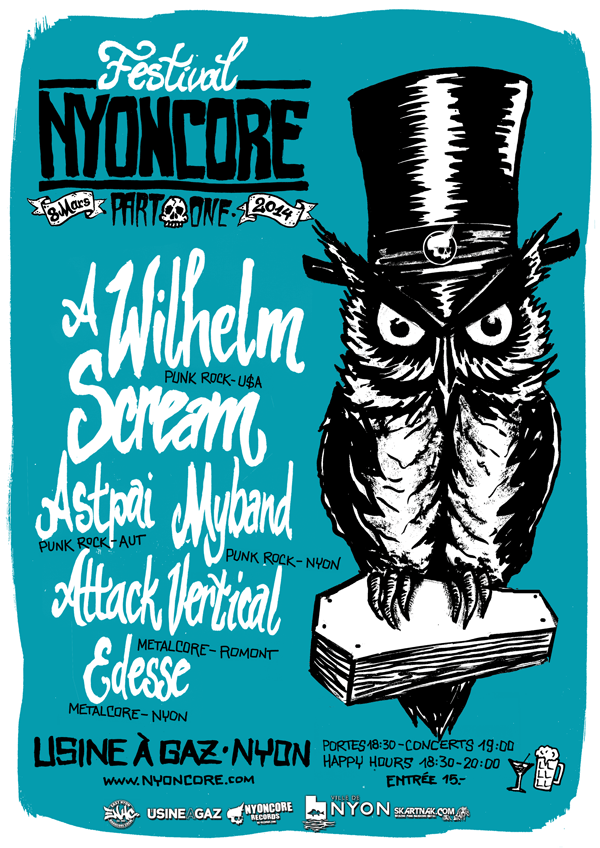NYONCORE FESTIVAL 2014 - PART ONE - 8 MARS 2014 - USINE A GAZ NYON - FLYER AFFICHE
